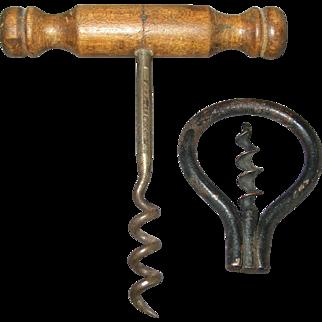 2 Vintage Corkscrews - Folding Bow & Williamson T-shape Corkscrew