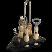 Novelty Bowling 6 Piece Bar Set - Corkscrew, Bottle Opener
