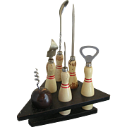 Novelty Bowling 6 Piece Bar Set - Corkscrew, Bottle Opener