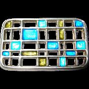 David Andersen Uni Mid Century Modern Modernist Sterling Silver Enamel Grid Pin