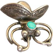 Native American Sterling Silver Turquoise Flying Insect Bug Pin