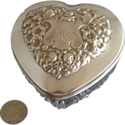 "Gorham 3"" Sterling Silver Heart Shape Dresser Jar"