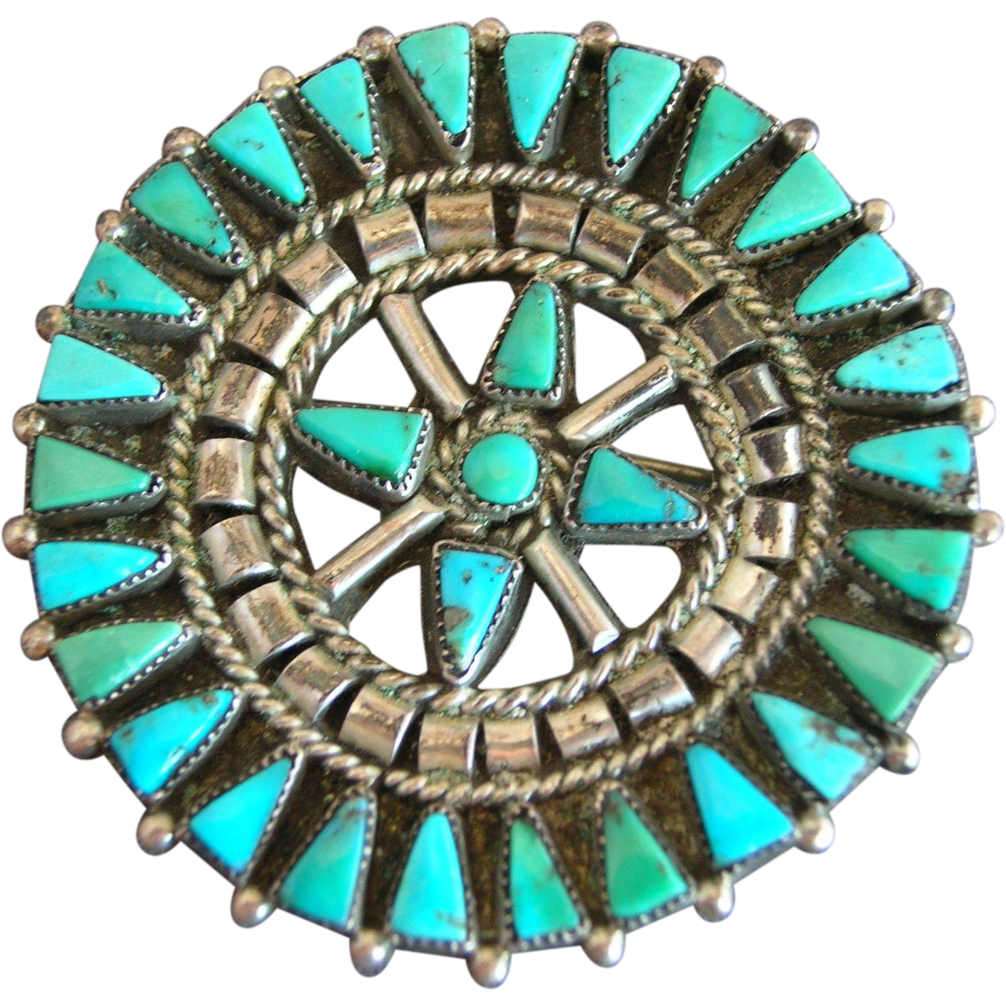 Vintage Zuni Sterling Silver Turquoise Petit Point Cluster Pin