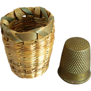 Vintage Sweet Grass Thimble Basket & Thimble
