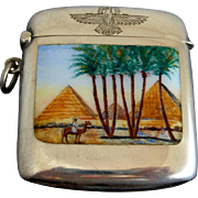 Art Deco Egyptian Revival 900 Silver Match Safe