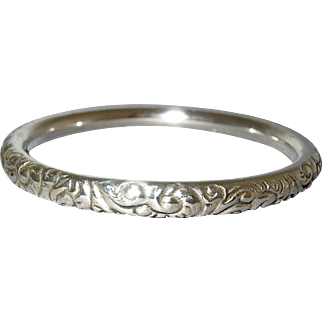 Victorian Sterling Silver Hollow Repousse Bangle Bracelet