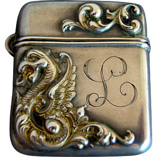 Stamp Case :  Victorian Sterling Silver Griffin