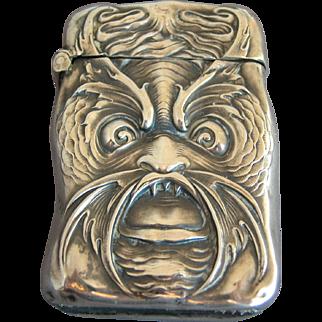 Match Safe:  UNGER Bros Sterling Silver Art Nouveau Sea Creature
