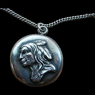 Antique Sterling Silver Native American Repousse Indian Portrait Pendant