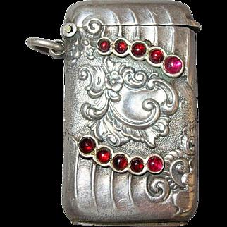 Petite 800 Silver & Garnet Antique Match Safe