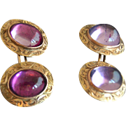 14K Yellow Gold Victorian Stone Cufflinks