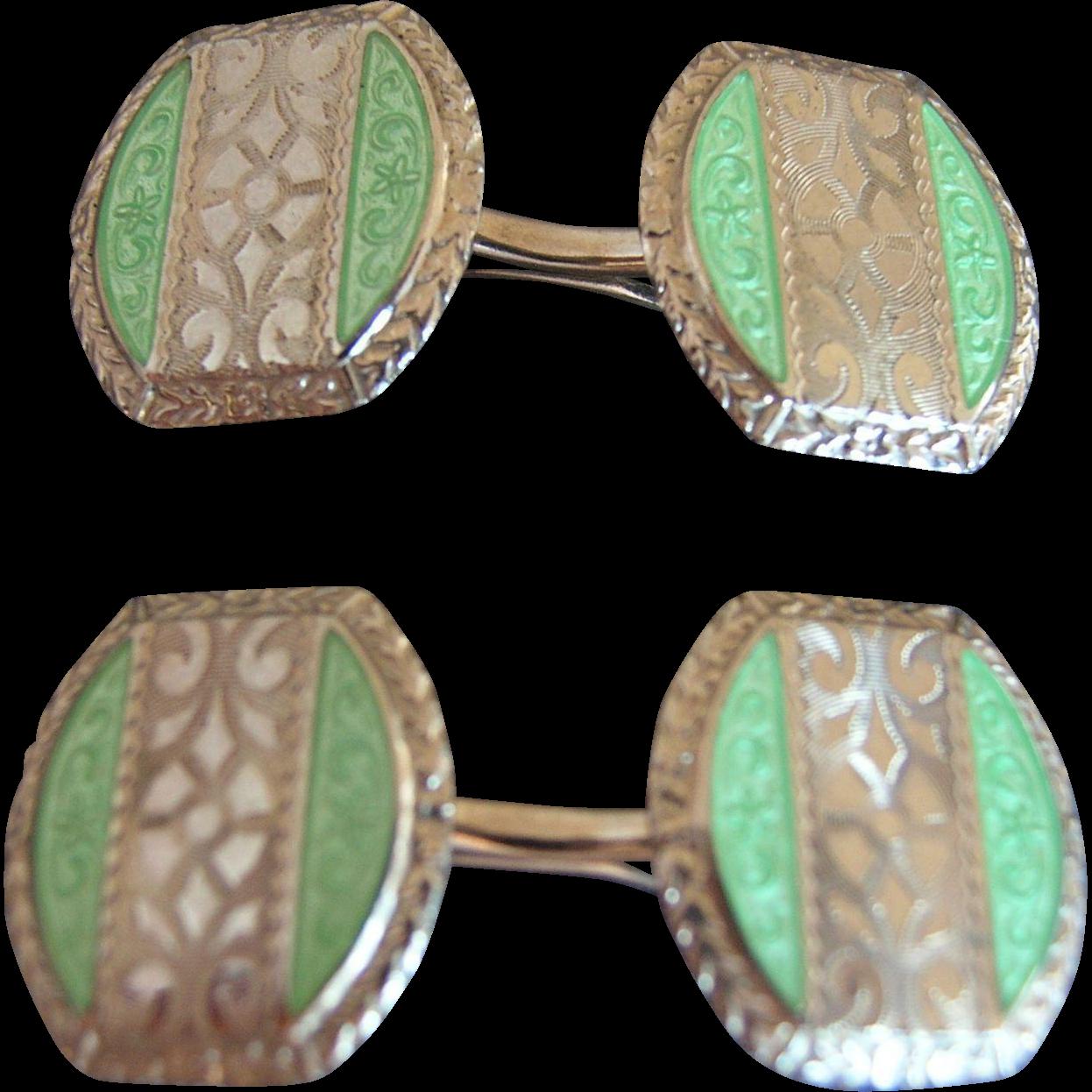 Art Deco Enamel Guilloche Sterling Silver Cufflinks