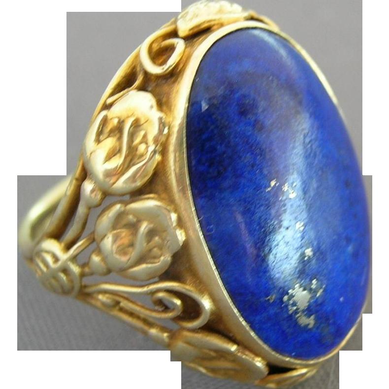 Arts & Crafts 14K Gold Lapis Ring - 1910