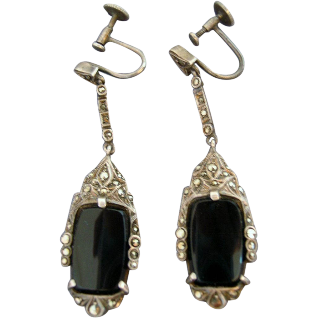 Vintage Art Deco Sterling Marcasite Onyx 2 Quot Drop Earrings