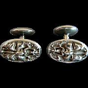 UNGER Art Nouveau Sterling Silver NORTH WIND Cufflinks - Circa 1895