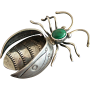 Large Vintage Native American Navajo Sterling Bug Pin