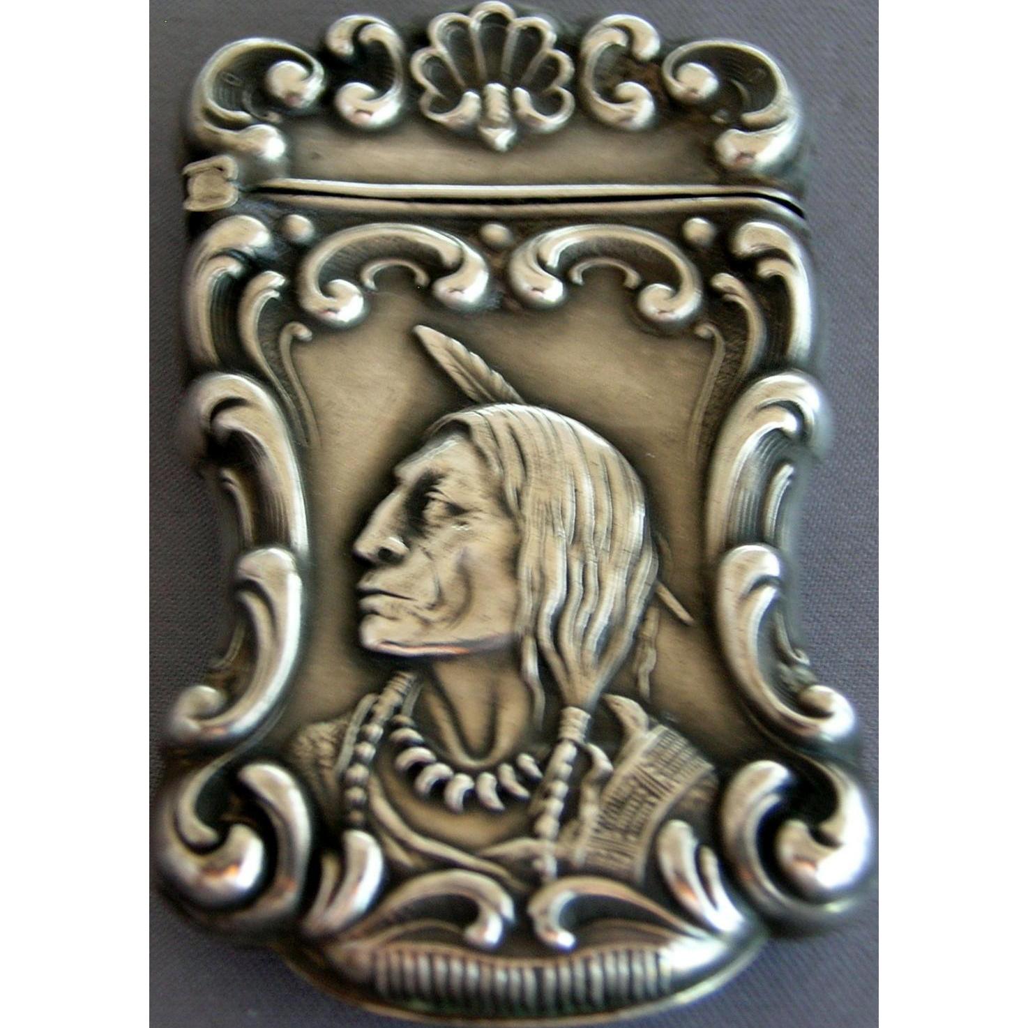 Antique Sterling Silver Indian Match Safe / Vesta