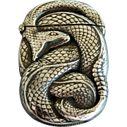 Wm. Kerr COILED RATTLESNAKE Sterling Silver Match Safe - 1890's