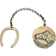 "Vintage Sterling Silver Equestrian ""Historic Track"" Horseshoe Key Chain"