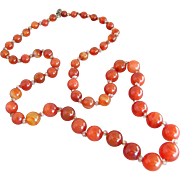 "Art Deco Carnelian & Crystal Beads 29"" Necklace"