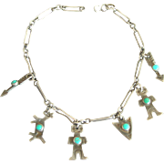 Fred Harvey Native American Sterling & Turquoise Charm Bracelet