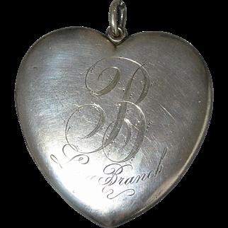 HUGE Sterling Silver Heart Locket - Yale - circa 1910