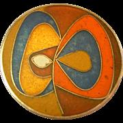 Perli Germany Vintage Modernist Matte Enamel Abstract Pin Pendant