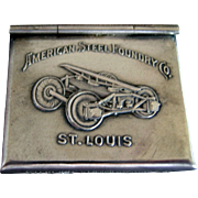 "Sterling Silver Advertising ""American  Steel Foundry"" Stamp Box Safe"