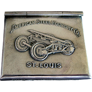 """Sterling Silver Adverting """"American  Steel Foundry"""" Stamp Box Safe"""