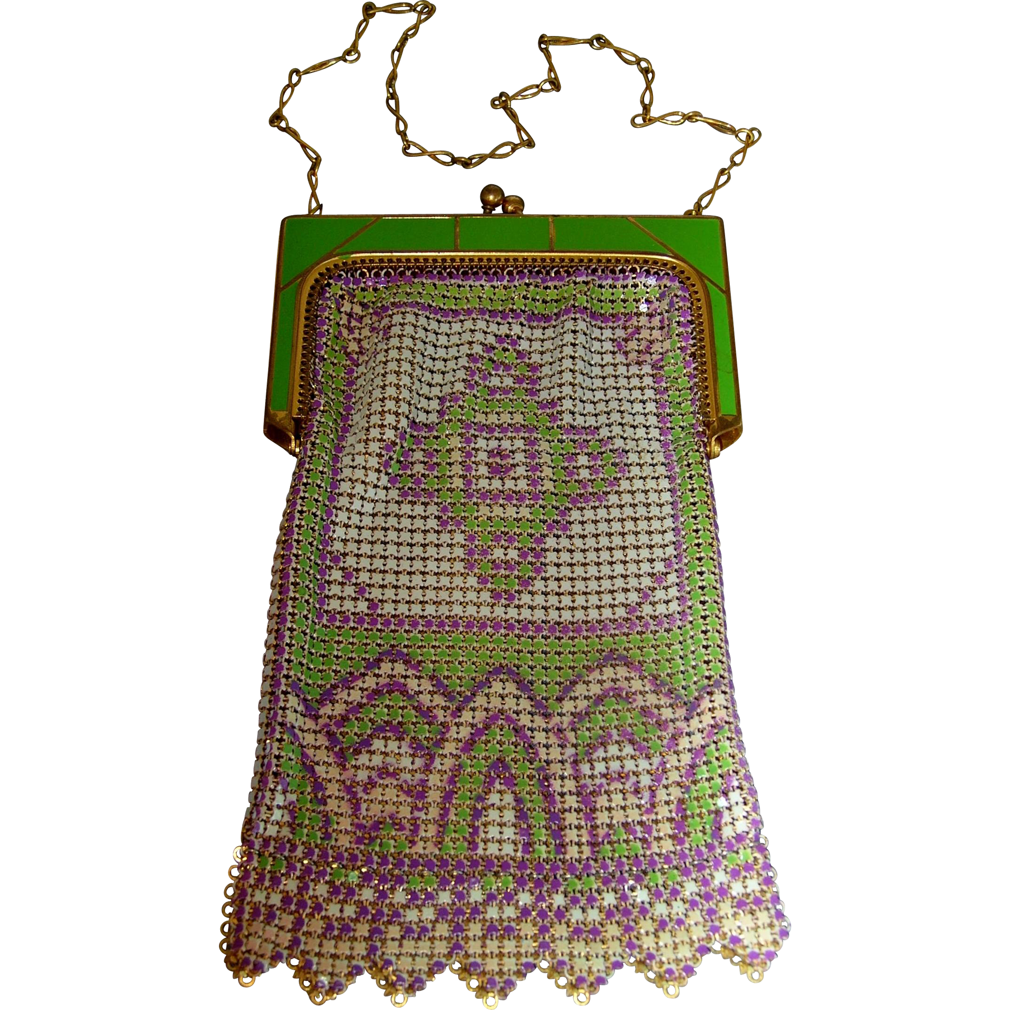 Whiting & Davis Enamel Mesh Purse in Suffragette Colors