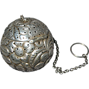 Repousse Sunflowers & Leaves Sterling Silver Cottle Tea Ball