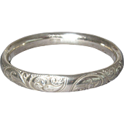 Vintage Silver Plated Hollow Repousse Bangle Bracelet