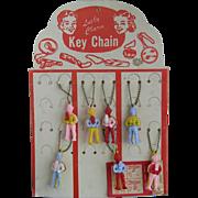 7 Vintage Howdy Doody Key Chains on Original Display Card