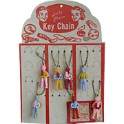 7 Vintage Howdy Doody Key Chains on Original Display Card