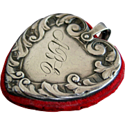 Victorian Heart Shape Sterling Silver Chatelaine Pin Cushion