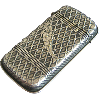 Antique Fish in the Net Silver Match Safe