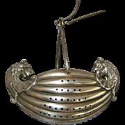 Gorham Sterling Silver Dual Lion Head Viking Ship Tea Strainer 1888