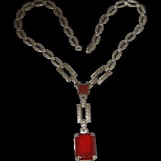 Art Deco Sterling Silver Carnelian Marcasite Necklace
