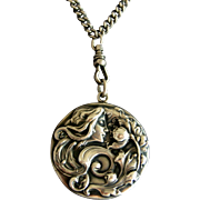 "Large Art Nouveau Sterling Silver Locket w Original 50"" Chain"