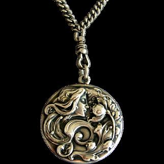 "Large Art Nouveau Sterling Silver Locket w Original 50"" Chain"