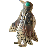 American Indian Navajo Sterling Silver Penguin Pin
