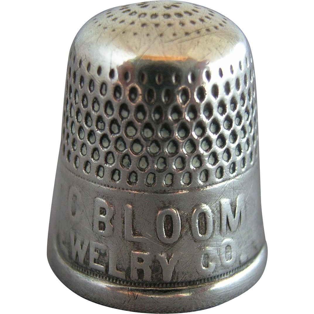 GOLDSMITH STERN Antique Sterling Silver Advertising Thimble ~ Circa 1915