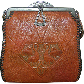 Art Deco Hand Tooled Leather Purse w Swans