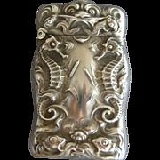 UNGER Bros Seahorse Sterling Silver Match Safe