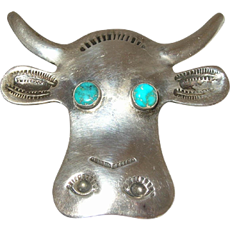 Navajo Steer Head Bull Sterling Silver Turquoise Pin