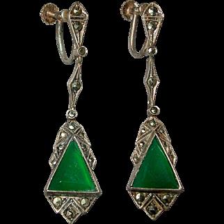 "Vintage Art Deco Sterling Marcasite & Chrysoprase 2"" Drop Earrings - Germany"