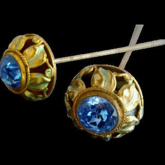 Pair of Enamel Art Nouveau Edwardian Hatpins / hatpin