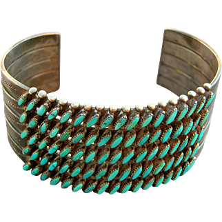 Vintage Zuni Wide Sterling Silver Turquoise Needlepoint 5 Row Cuff Bracelet