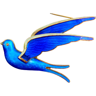 Bernard Meldahl Blue Guilloche Enamel Sterling Silver Bird Pin
