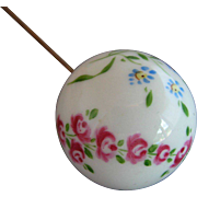 Antique Porcelain Ball Hatpin - Roses & Wild Flowers